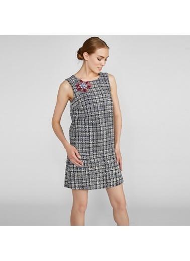 Vekem-Limited Edition Sıfır Yaka Mini Tüvit Elbise Lacivert